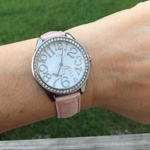 Guess crystal Watch Pink Genuine leather band